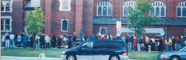People line up for the rummage sale at Highland Park Presbyterian Church in 2012.
