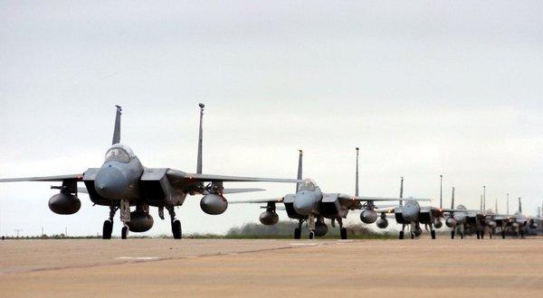 Air Force F-15 Eagles from the 94th Fighter Squadron back in the U.S. after a four-month deployment in Turkey in 2003. U.S. warplanes may soon be performing missions over Syria.