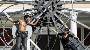 Getty Villa's 5-ton wheel keeps 'Prometheus Bound' centered