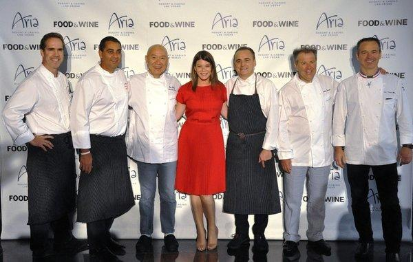 Shawn McClain, from left, Michael Mina, Masa Takayama, Gail Simmons, Jean-Georges Vongerichten, Julian Serrano and Jean-Philippe Maury were among the chefs who joined forces for the 2012 Food & Wine All-Star Weekend. This year's event is Oct. 4-6 in Las Vegas.