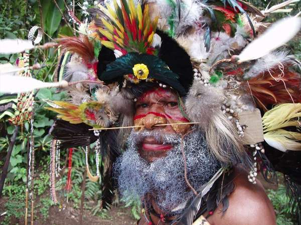 A Huli man in the highlands of Papua New Guinea. A SeaDream trip takes passengers to the South Pacific island nation during a trip from Australia to Bali.