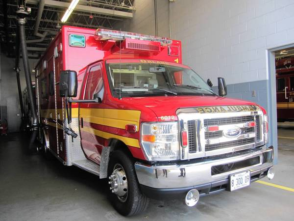 An Orland Fire Protection District ambulance sits ready for deployment at Station No. 1. The district plans to buy a new chassis for one of its eight ambulances this year.