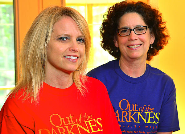 Julie Matheny, left, and Mary Ann Grandinett will walk in Out of the Darkness Community Walk to bring awareness to suicide prevention.