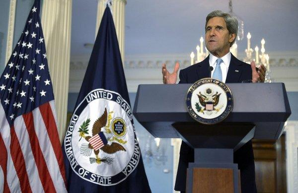 Secretary of State John F. Kerry delivers remarks on Syria at the State Department in Washington on Friday.