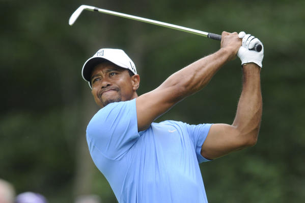 Tiger Woods on the 8th tee during the first round at TPC of Boston.