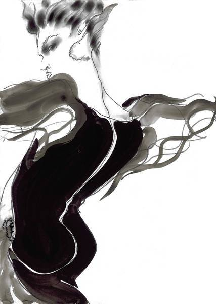 Valentino haute couture was drawn by Tony Viramontes for Italian Vogue and is offered on 1stdibs.com.