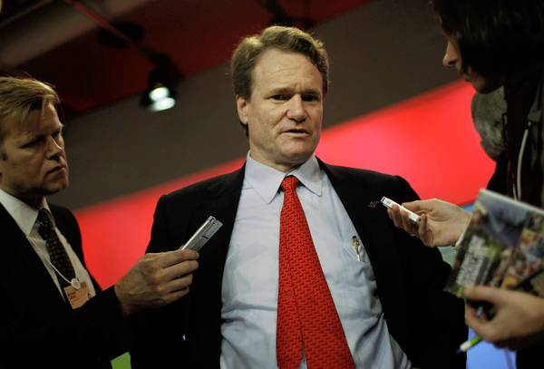 "Bank of America CEO Brian Moynihan says his company is well positioned as the economy recovers. A slimmer BofA is gaining traction, he says, thanks to ""addition by subtraction."" Above, Moynihan at an economic forum in Davos, Switzerland, last year."