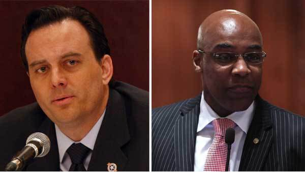 (Left) Dan Proft speaks at a forum at the City Club of Chicago at Maggiano's restaurant in Chicago January 11, 2010; (right) Sen. Kwame Raoul during pension debate at the State Capitol in Springfield May 30, 2013.