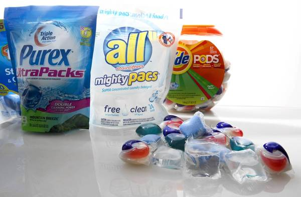 Consumer safety groups have warned that detergent sold in individual packets could be easily eaten by children who might mistake them for candy.