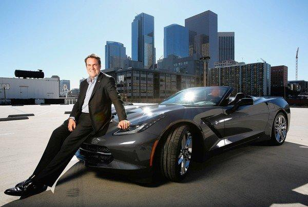 Mark Reuss, president of General Motors' North American operations, shows off the automaker's newly redesigned 2014 Corvette Stingray convertible.