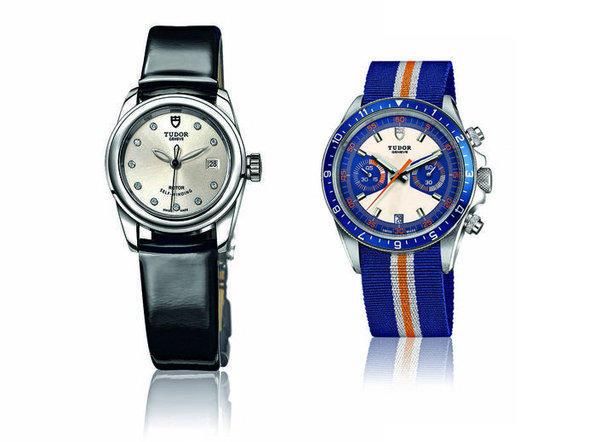 The Tudor Glamour Date, left, and the Tudor Heritage Chrono Blue.