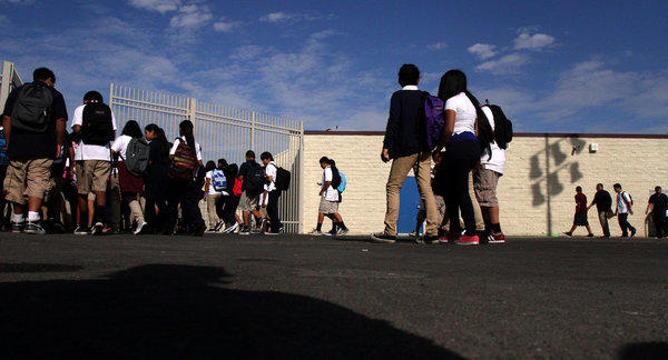 Students in Santa Ana start the school year.