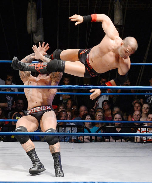 Kazarian drops Gunner during the first match of TNA Wrestling at Maryland Theatre Friday evening.