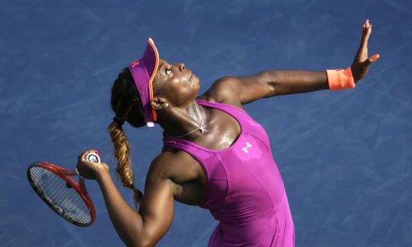 Sloane Stephens serves during her third-round victory over Jamie Hampton at the U.S. Open on Friday.