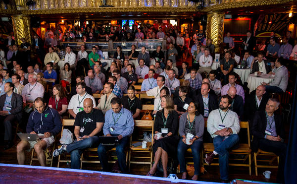 Right side view of the audience. Startup companies are making their presentations during demo day for TechStars Chicago in the House of Blues in Chicago on Aug. 28.