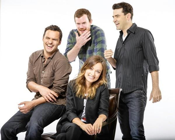 "Joe Swanberg, center, has a big-name cast for his new movie, ""Drinking Buddies,"" including Jake Johnson, left, Olivia Wilde and Ron Livingston."