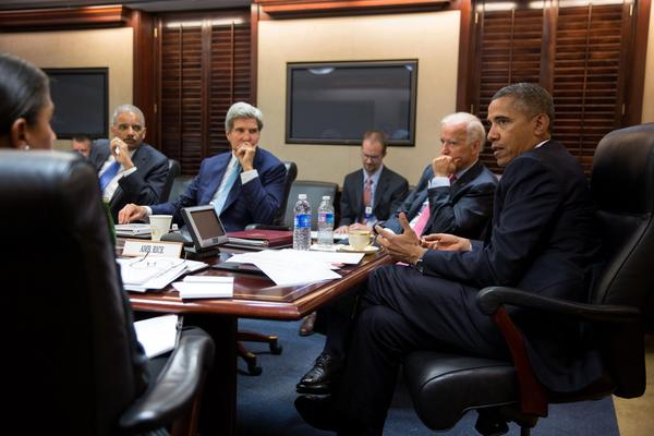 President Obama discusses the situation in Syria with his national security team in the Situation Room of the White House.