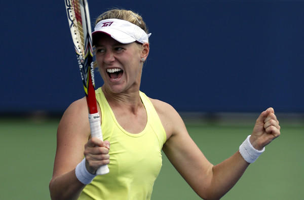 Alison Riske reacts after beating Petra Kvitova in a third-round match at the U.S. Open on Saturday.