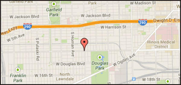 Map of location where a man was left in critical condition after being attacked by at least five pit bulls on the city's West Side.
