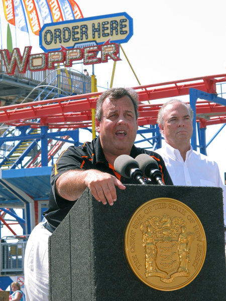 New Jersey Gov. Chris Christie touts the state's recovery from Hurricane Sandy on the boardwalk in North Wildwood.