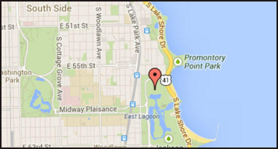 The map of a location where the body of a man was pulled from Lake Michigan on the city's South Side.