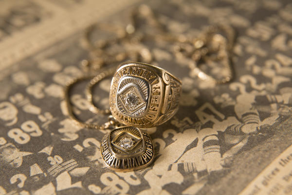 The 1963 Bears' NFL Championship ring and the pendant given to the players' wives are displayed at Ted Karras' Gary, Ind. home.
