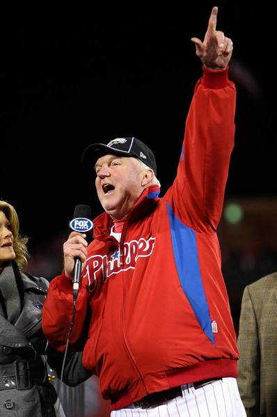 Manager Charlie Manuel #41 of the Philadelphia Phillies addresses the fans as he celebrates their 4-3 win to win the World Series against the Tampa Bay Rays during the continuation of game five of the 2008 MLB World Series on October 29, 2008 at Citizens Bank Park in Philadelphia, Pennsylvania.