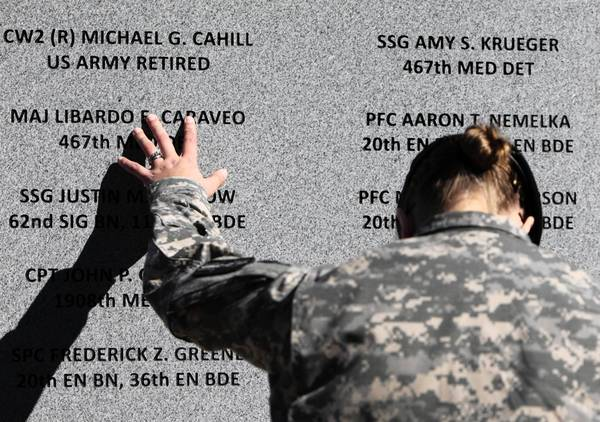 A memorial features the names of those slain in the Ft. Hood shooting rampage in 2009. Maj. Nidal Malik Hasan received the death penalty in the shootings.