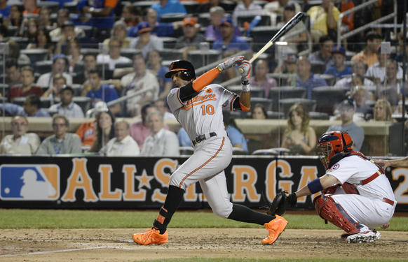 Adam Jones doubles at the 2013 All-Star Game at Citi Field.