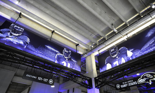 The lower-level concourse at M&T Bank Stadium now features new art, decorative lighting and upgraded store fronts.