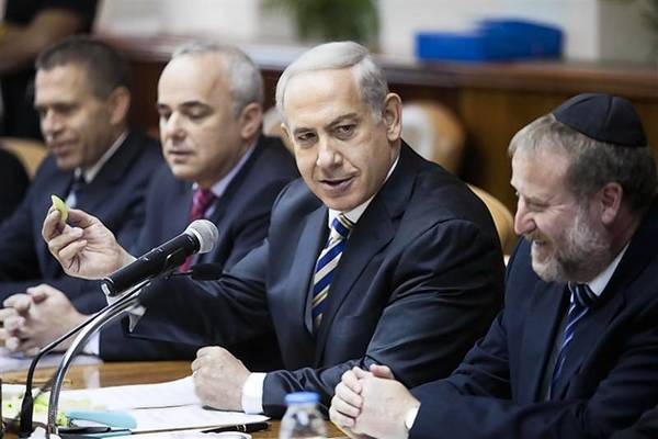 Israel's Prime Minister Netanyahu attends the weekly cabinet meeting in Jerusalem.