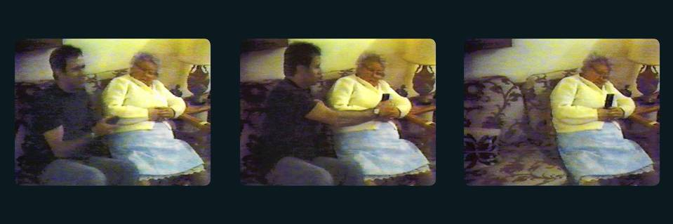 Andy Kaufman records the voice of his grandmother in these video frames from a film produced by Kaufman.