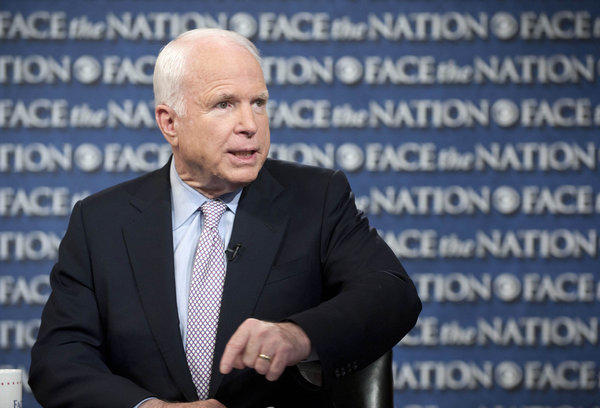 "Sen. John McCain (R-Ariz.) talks about the U.S. response to Syria on CBS's ""Face the Nation"" in Washington on Sunday."