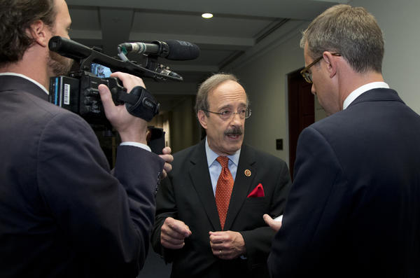 Rep. Eliot Engel (D-N.Y.) speaking Sunday on Capitol Hill entering a closed briefing about Syria.