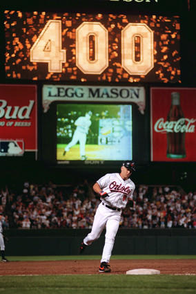 Cal Ripken hits the 400th home run of his major league career against the Tampa Bay Devil Rays.