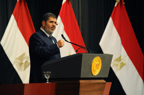 In June, Egyptian President Mohamed Morsi delivers a speech in Cairo.