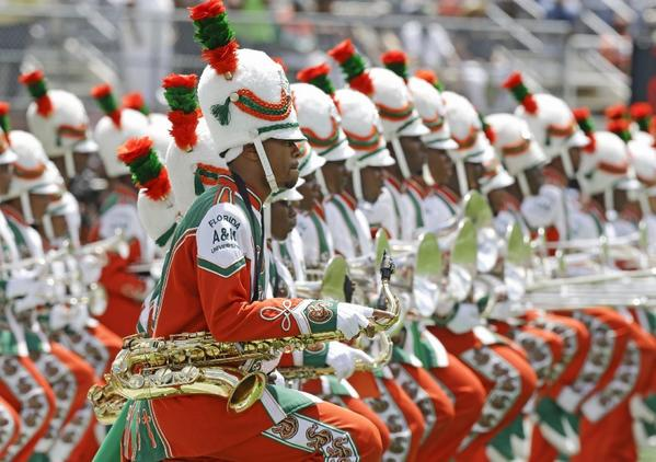 The Florida A&M University band performs in Orlando, Fla., during the school's season-opening football game against Mississippi Valley State. It was the band's first appearance in a football stadium in nearly 22 months after the 2011 hazing death of a drum major.