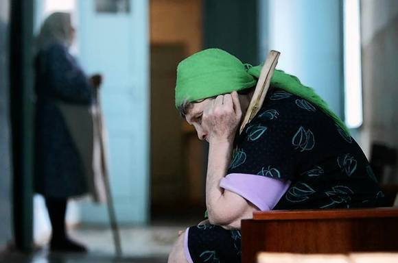 Residents are seen in a senior citizens' home in Svetlograd