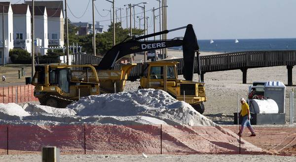 The city of Hampton used federal grant money to pay for this beach replenishment in 2011. About 15,000 cubic yards of sand was spread at Buckroe Beach as part of the project.