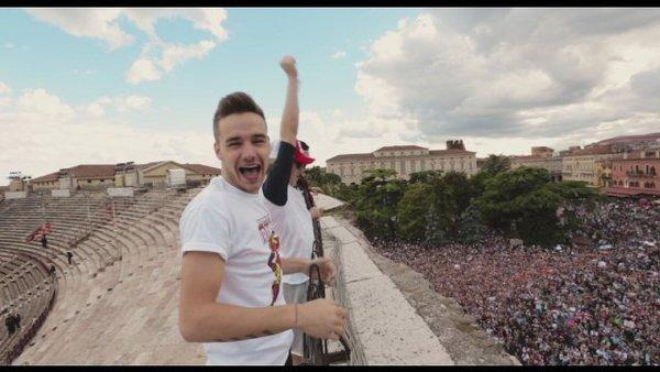 "Liam Payne and the other members of One Direction observe their fans in a scene from ""One Direction: This Is Us."""
