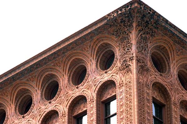 Louis Sullivan's Guaranty Building in Buffalo, N.Y., reveals Sullivan's tall office building artistry at its peak.