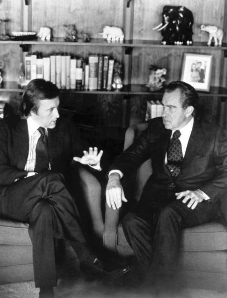 "David Frost, left, interviews former President Nixon in March 1977. The two taped more than 28 hours of interviews at a Dana Point home. The sessions were dramatized in the 2008 film ""Frost/ Nixon."""