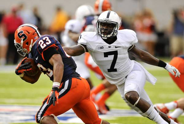 Penn State's Stephen Obeng-Agyapong (7) started 12 games at safety last year, but was moved to linebacker this season.