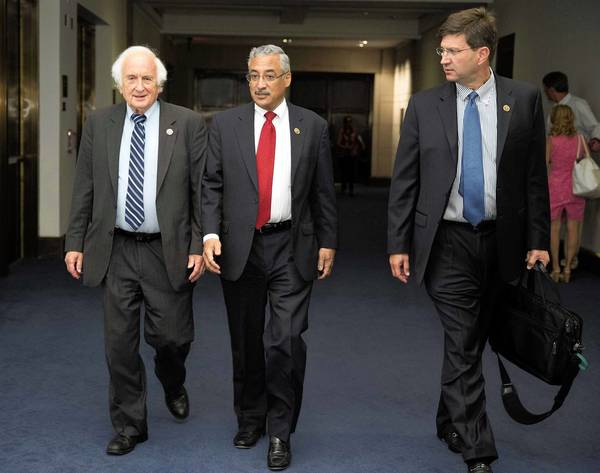 U.S. Rep. Brad Schneider, right, a Democrat from Deerfield, joins fellow congressmen Sander Levin, left, and Robert Scott as they head to a closed-door meeting on the situation in Syria.