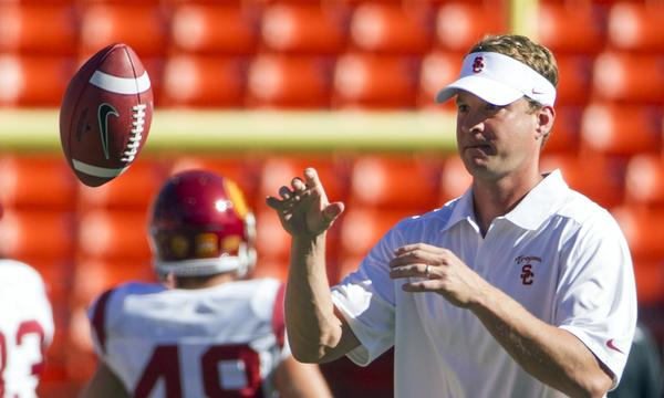 USC Coach Lane Kiffin won't say who will start at quarterback against Washington State on Saturday.