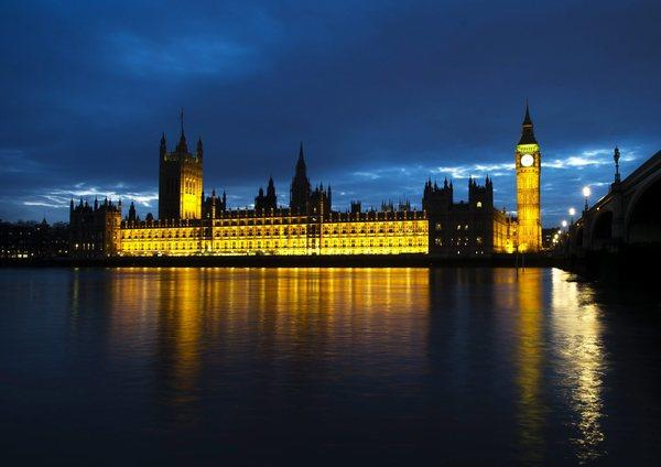 A view of the Houses of Parliament during sunset in March 2012 in London.