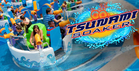 The Tsunami Soaker attraction combines two familiar amusement park rides -- a spinning teacup with a water battle boat ride.