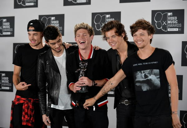 Members of the boy mega band One Direction at the MTV Video Music Awards at the Barclays Center in New York. From left are: Liam Payne, Zayn Malik, Niall Horan, Harry Styles and Louis Tomlinson.