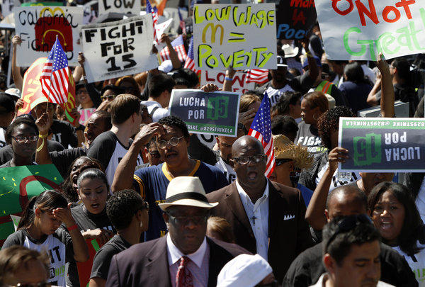 Supporters rally in L.A. to raise the minimum wage of fast food workers.