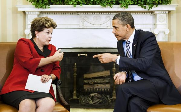 President Obama listens to Brazilian President Dilma Rousseff during a meeting in the Oval Office. Revelations of U.S. spying on Rousseff may complicate the next meeting between the two leaders.